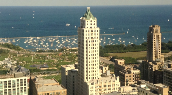Photo of the East Horizon view from the 29th floor, Cook County Law Library