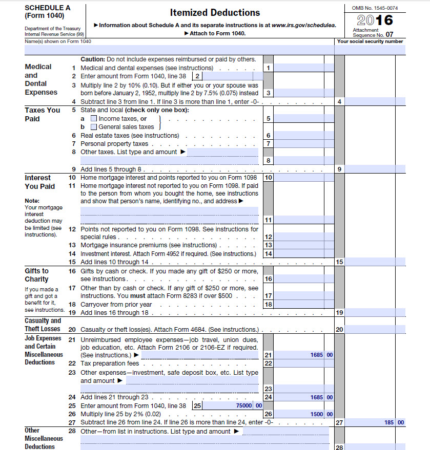 Example of a Form 1040 Schedule A demonstrating a job expense deduction